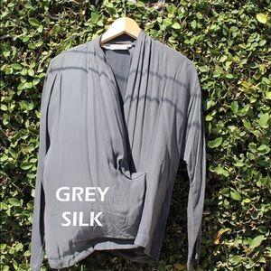 Grey Silk Wrap Blouse