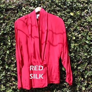 Red Silk Wrap Blouse