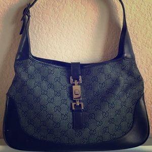 805f5ea8623a Gucci Bags | Jackie O Black Gg Denim Monogram Hobo Bag | Poshmark