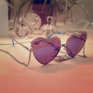 Mika Yoga Wear Jewelry - Silver Chain with Blue Trim Heart Sunglasses 😎🎀