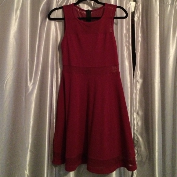Express Dresses & Skirts - Express dark red fit and flare mesh cutout dress