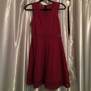 Express Dresses - Express dark red fit and flare mesh cutout dress