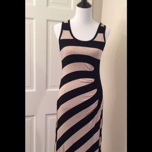 Calvin klein asymmetrical stripe maxi dress