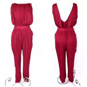 958519f6f90 Anthropologie Dresses - Anthropologie Nomad Morgan Carper Garnet Jumpsuit