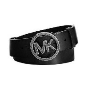 Black Leather MK Hammered Belt