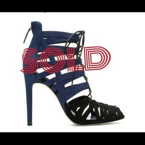 Zara Navy Strappy lace up bootie