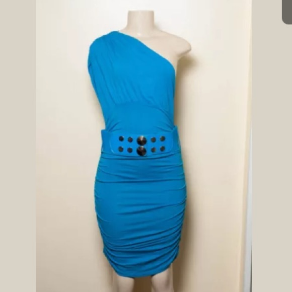 vizio turquoise dress with belt from s closet on