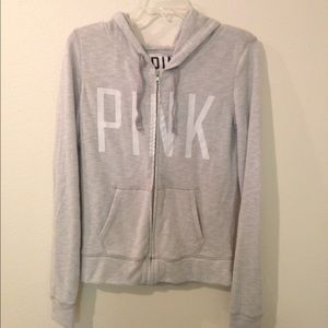 VS PINK Gray Zip Up
