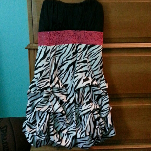 Deb Dresses & Skirts - A strapless black zebra dress with a pink stripe