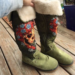 Ed Hardy green boots