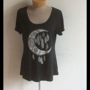 Dream Catcher Moon & Feathers scoop neck t shirt