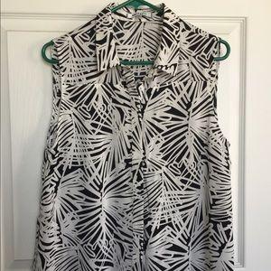 DKNY Sleeveless Button-Up Blouse