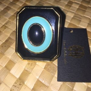 House of Harlow Enameled Art Deco Turquoise ring 6