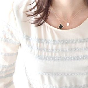 Jewelry - Black gold clover chain necklace delicate