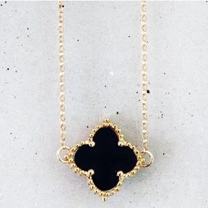 Black gold clover chain necklace delicate