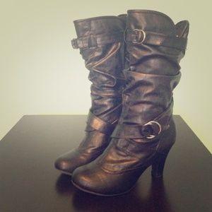Bamboo Black Heel Boots