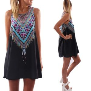 Dresses & Skirts - Black dress print colorful rainbow tribal feather