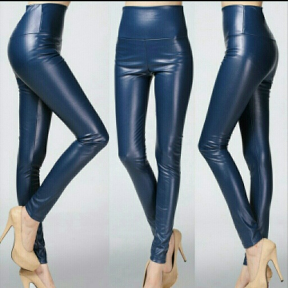 b67a0dd7dca15 Dark blue faux leather leggings. M_555e5acc6d64bc10ed004776