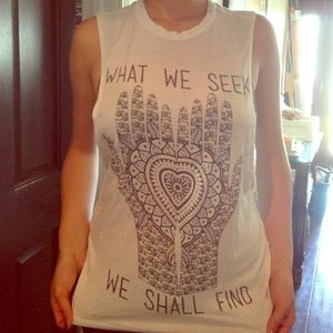"RK BLK TANK ""what we seek we shall find"""