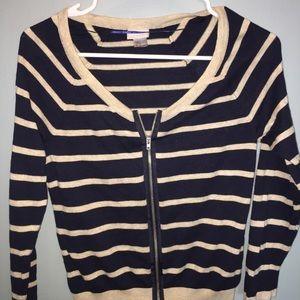 Mini cardigan sweater in navy/gold stripe h&m x-s