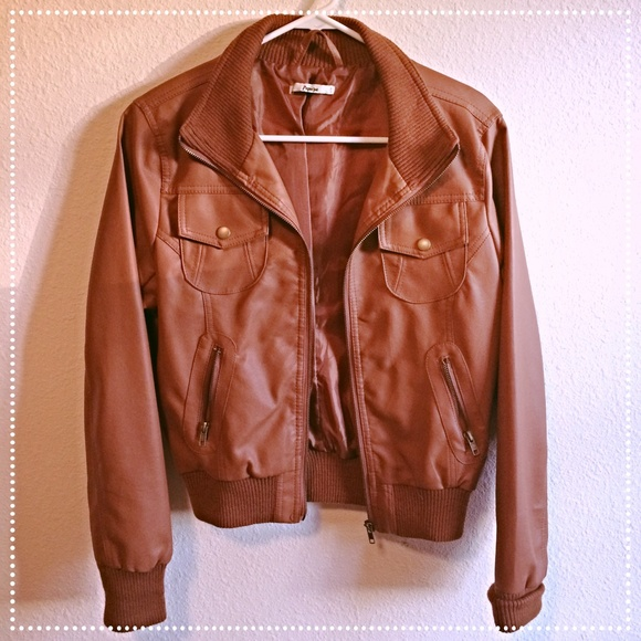 Cognac faux leather jacket