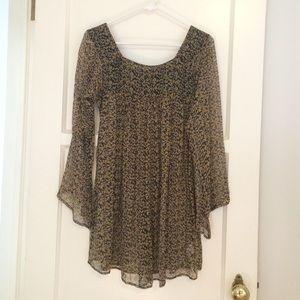Winter Kate Dresses & Skirts - Winter Kate Sheer Printed Bell Sleeve Mini Dress