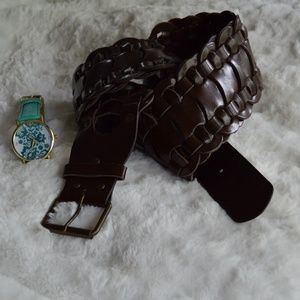 Clearance Braided Brown Wide Trendy Belt