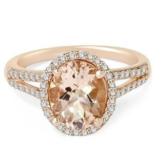 Morganite 3ct Diamond Rose Gold Ring