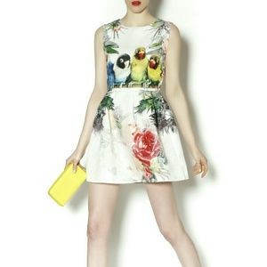 LOVE BIRD PRINTED DRESS