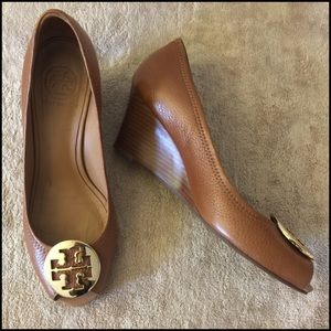 Tory Burch Peep Toe Wedge Heels