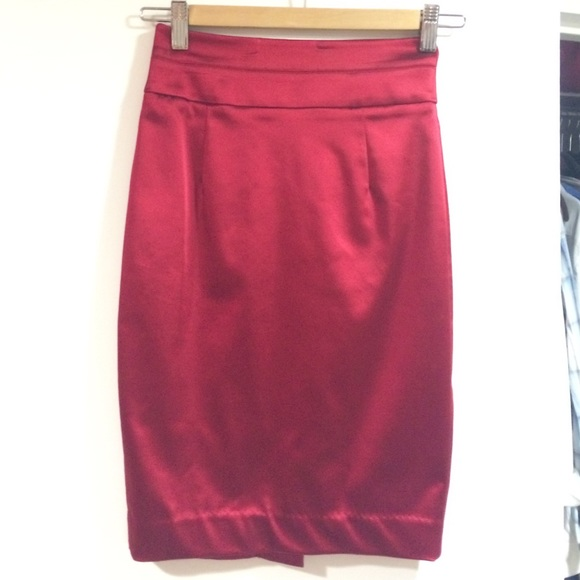 206ebe9197 bebe Dresses & Skirts - Bebe red satin pencil skirt