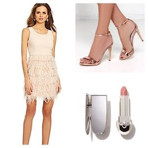 Beige Nude Dress feather Skirt
