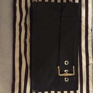Henri Bendel Black Leather Clutch