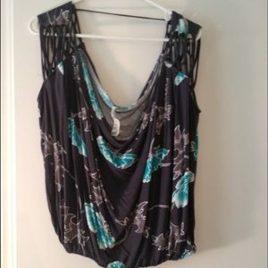 Gray w turquoise flowers free people scoop tank