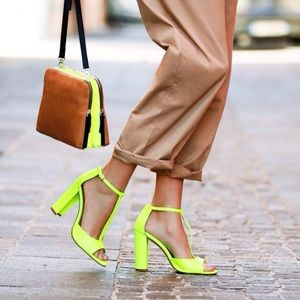 ZARA Neon Yellow T Strap Sandals