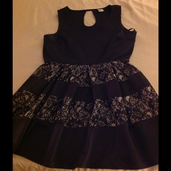 Deb Dresses & Skirts - Black and nude lace dress