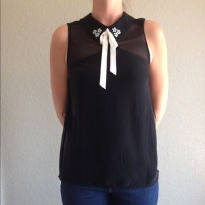 Willow & Clay Tops - Collared cute black top