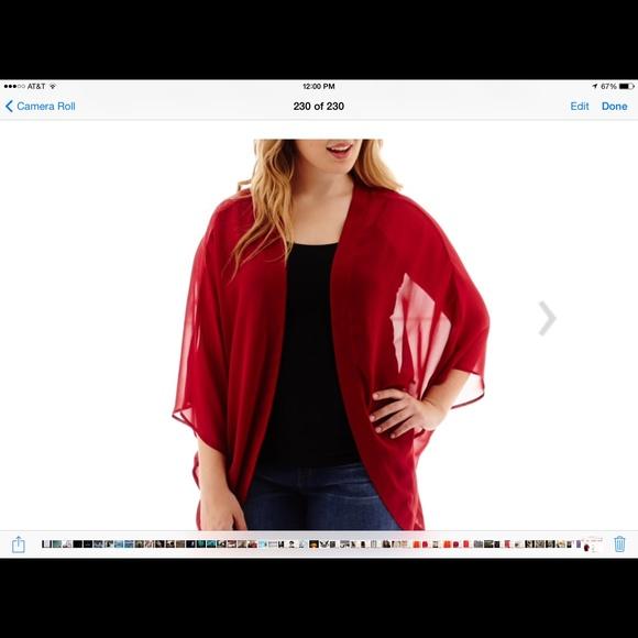 53% off arizona Tops - 🔽🔽🔽 red sheer cardigan. Elastic back at ...