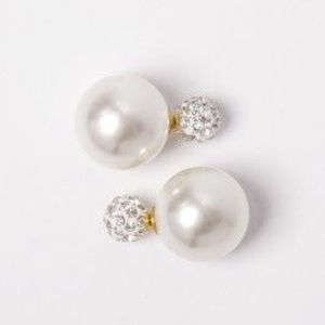 Jewelry - Sparkle double sided earrings pearl white gold