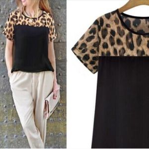 Tops - Leopard shirt black animal print tee blouse