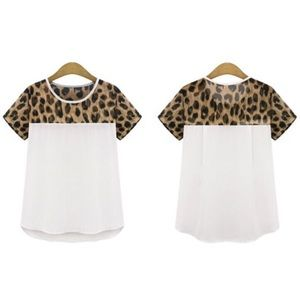 Tops - Leopard shirt white animal print tee blouse