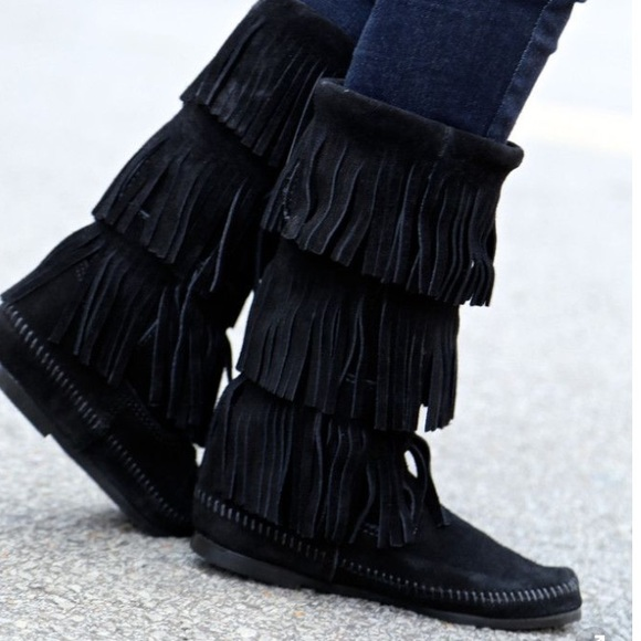 58% off Minnetonka Boots - 3 layer black fringe boot from Zoee's ...
