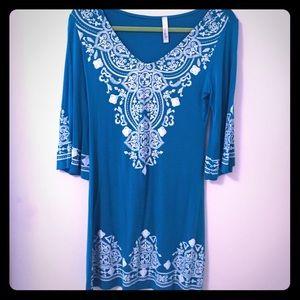 3/4 Sleeve Turquoise Dress