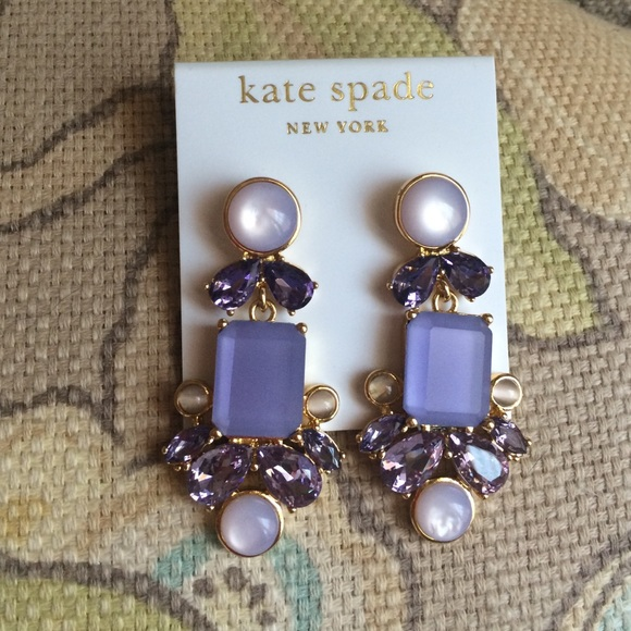bf646b263954f Kate Spade purple and gold statement earrings NWT