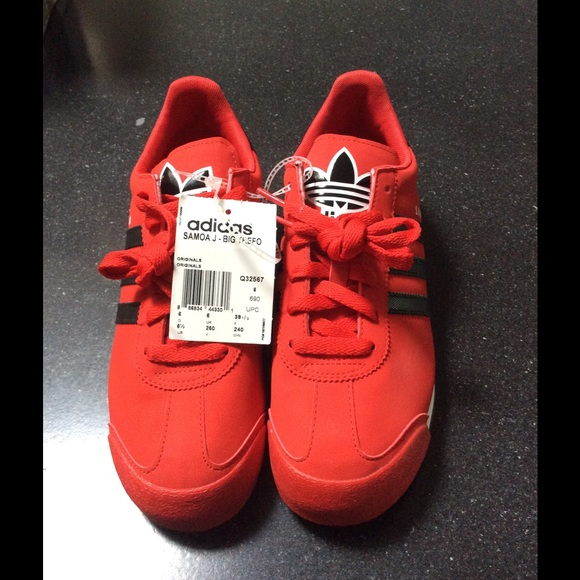 e37ebc7aba1cc8 Brand new red and black Adidas Samoa j big trefoil