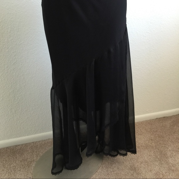 black maxi skirt high low style with sheer style m from