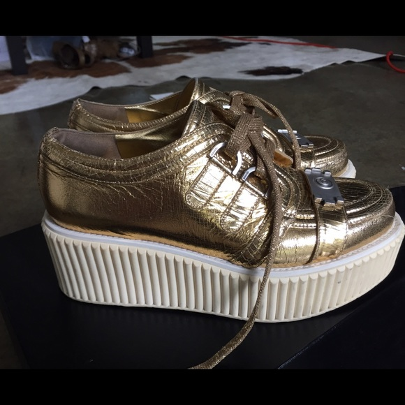 50669b2e6d7 CHANEL Shoes - GOLD CHANEL CREEPERS 38 1 2