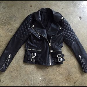 Faux leather motorcycle jacket fitted petit Xs
