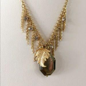 HP Antique Grey Gold Leaf Dewdrop Necklace