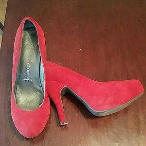 Jeffrey Campbell red suede pumps